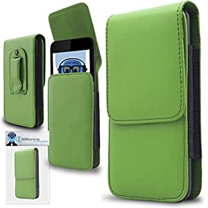 Green PREMIUM PU Leather Vertical Executive Side Pouch Case Cover Holster with Belt Loop Clip and Magnetic Closure for Philips D633