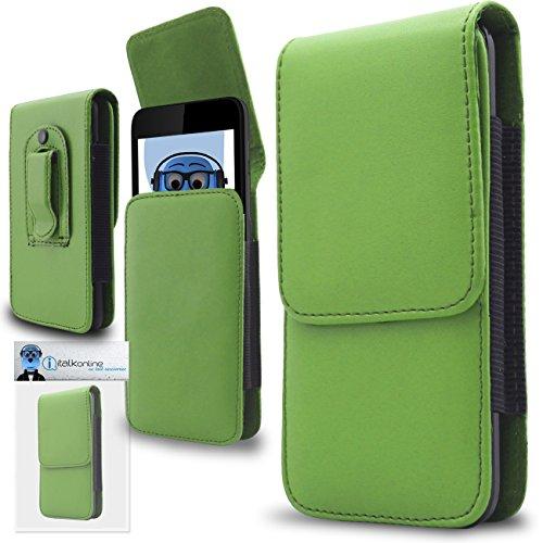 iTALKonline Grün Premium PU-Leder Vertikale Exekutive Seitentasche Kofferabdeckung Gürtelschlaufe Clip und Magnetverschluss für Samsung Galaxy Core Prime SM-G360
