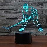 Giocatore visivo del giocatore di hockey su ghiaccio 3D Forma 7 colori modificabili Usb Luce notturna 3D Illuminazione domestica Decor camera da letto han-8224