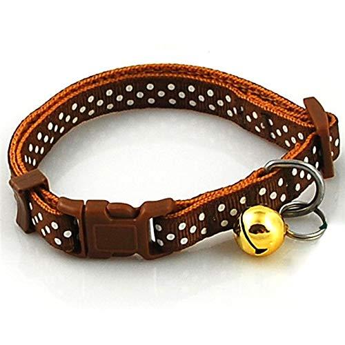 lon 1,0 cm / 1,5 cm Breite Nylon Hundehalsband Dot Gedruckt Polka Einstellbar Hundewelpen Halskette Kragen Mit Glocke, Lila, M ()