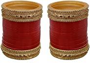 Lucky Jewellery Red Designer Chura Bridal Dulhan Punjabi Choora Fashion Jewellery Chuda Set (799-M1C1-Z721-R)