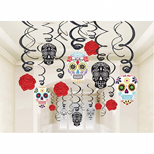 Spiralen 30 Tag der Toten Deko Hänger Halloween Girlanden Party Deko Mexikanische Dekoration dia de los muertos Halloweendeko Totenkopf Girlande Spirale Papierdeko Raumdeko