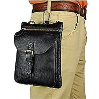Le'aokuu Mens Genuine Leather Fanny Small Messenger Bag Waist Belt Bag Pouch Pack (The black)