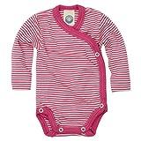 Cosilana - Baby Wickel Body 1/1 Arm, 62/68, geringelt Pep-Pink Natur, 70% Schurwolle kbT, 30% Seide - Ein Angebot der Nhos Service und Vertriebs GmbH - Wollbody