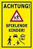 Melis Folienwerkstatt Schild - Spielende Kinder - 45x30cm | 3mm Aluverbund - S00040-041-C - 20 Varianten