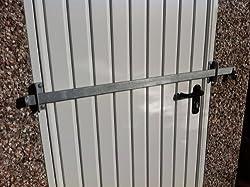 GARDEN SHED LOCK BAR, FACTORY/GARAGE/ OFFICE DOOR SECURITY - HEAVY DUTY STEEL - GALVANISED FINISH (1200mm)