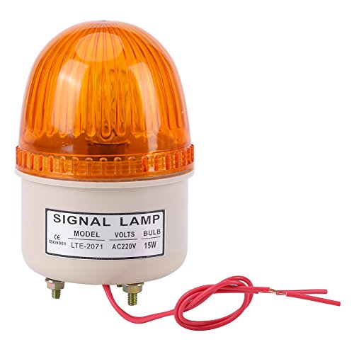 Akozon Warnlicht Blitz AC 220 V Notlicht Blitz 15 Watt LED Blitzlicht Warnleuchte Industrielle Werkzeugmaschine Rot Grün Blau Gelb(Gelb)