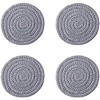 BESTONZON 4 unids posavasos redondos tejido de algodón para decorar mesa de bar cocina salón (