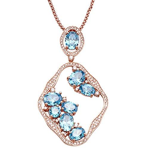 LF elegante collana pendente mare vetro sintetico blu per creare collana moschettone di inviare la sua