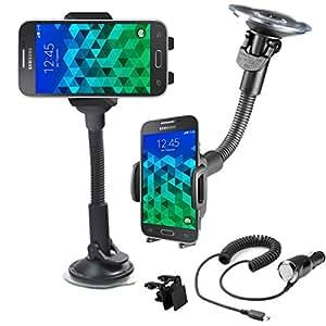 Support voiture rotatif 360 Samsung Galaxy Core Prime SM-G360 \ Core Prime VE Value Edition SM-G361 + Grille d'aération et Chargeur allume cigare OFFERT !!