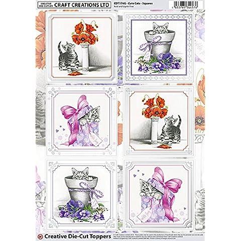 Craft Creations creative Topper–cdt576g–Quadrati Gatti, Gattini, fiori, colore: argento, confini, A4, 210x 297mm, 250g, 300Mic–per compleanni, Thank You, festa della mamma, etc.
