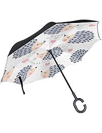 ALAZA erizo Animal corazón lunares paraguas invertido doble capa resistente al viento Reverse paraguas
