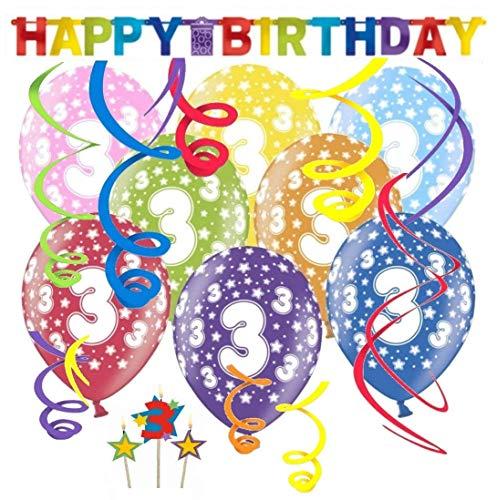 ion Kinder Geburtstag Deko-Set 'Stern' Happy Birthday farbenfrohe Partykette bunte Girlande Spirale Luftballons und Geburtstags-Kerzen drei Jahre ()