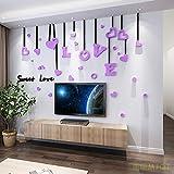 JWQT Wandtattoos Einfache LIEBE liebe romantische hochzeitszimmer acryl wandaufkleber liebe schlafzimmer sofa wohnzimmer nachttischaufkleber 3D 3D, Schwarzlicht lila, Übergröße