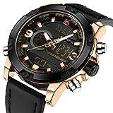 Mode Sport Analog Digital Herrenuhren Dual Time Display Schwarz Leder Gold Ton Militärische Wasserdichte Licht Chronograph Alarm Datum Armbanduhr