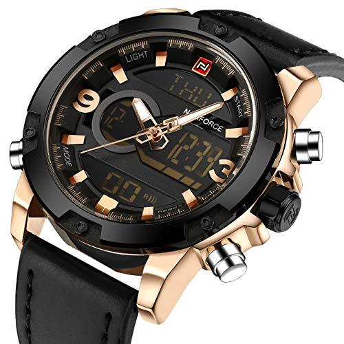 Montres analogiques numériques de mode pour hommes, affichage de l'heure double, cuir noir, ton or, militaire, étanche, lumière, chronographe, alarme, date, montre-bracelet