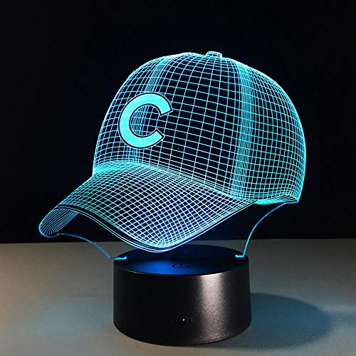 3D Hip Hop Baseball Cap LED 3D Illusion Nachtlicht bunt USB Baseball Cap Schlafzimmer Dekoration Beleuchtung Junge Geburtstagsgeschenk (Sie Ihr Baseball Eigenes Wie)