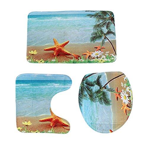 WINOMO 3stk Badezimmer Teppich Set Anti-Rutsch Bad Matte Kontur Deckel WC Deckel Teppich Meer Strand Design (Strand Badezimmer Teppich Set)