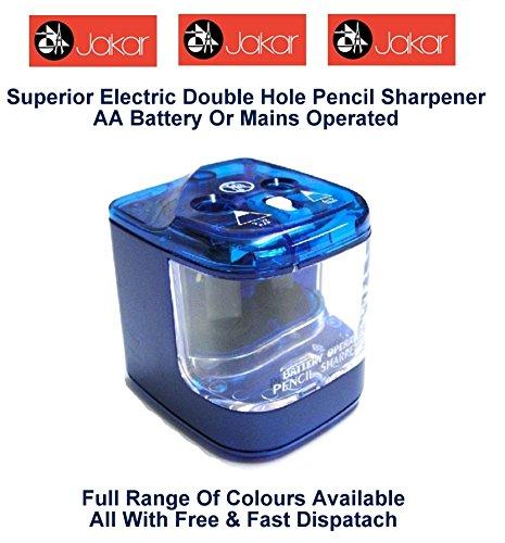 Jakar Blue Electric Double Hole Anspitzer Farbe Desktop Akku oder Main batteriebetrieben AA...