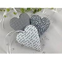 3 Stoffherzen in grau/weiß Tönen