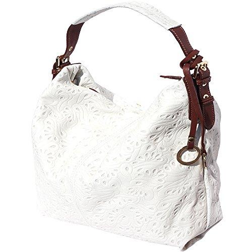 Borsa hobo a spalla in pelle stampato 8001s (Bianco-marrone)