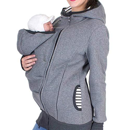 (Amphia - Damen-Schlafanzug mit KapuzeFrauen Mutterschaft gestreiften Baby Pouch Carrier Hoodie Känguru Reißverschluss Schwangerschaft Mantel - (Grau,M))