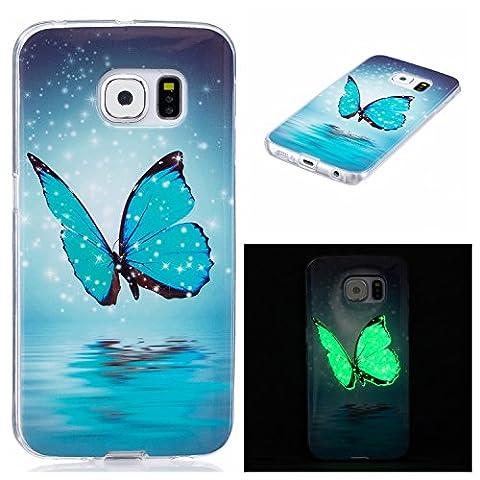 Ecoway Samsung Galaxy S6 edge Luminous Case Cover, Coque de téléphone IMD Silicone Housse en silicone Housse de protection Housse pour téléphone portable pour Samsung Galaxy S6 edge - Papillon