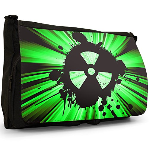 Radio Active, motivo: simbolo di pericolo nucleare, colore: nero, Borsa Messenger-Borsa a tracolla in tela, borsa per Laptop, scuola Green