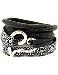 Wickelarmband Stoffarmband endlos in anthrazit grau