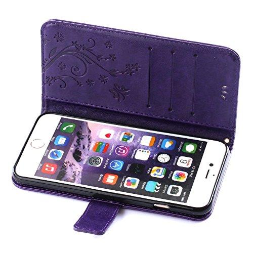ARTLU® iphone 4s Hülle Blume Premium PU Leder Schutzhülle für iphone 4s Bookstyle Tasche Schale TPU Case mit Standfunktion Lila C1