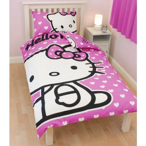 Kinder Mädchen Hello Kitty Herzen Bettwäsche-Set für Einzelbetten (Einzelbett) (Rosa)