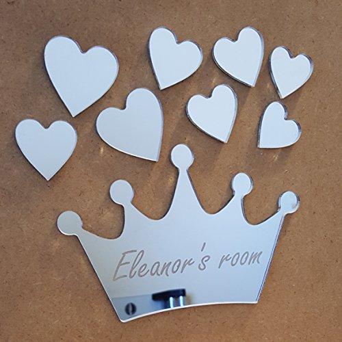 Prinzessin Krone Herzen Spiegel Set personalisiert Tür Namen Plaque Boy Mädchen Bed Room Schild -