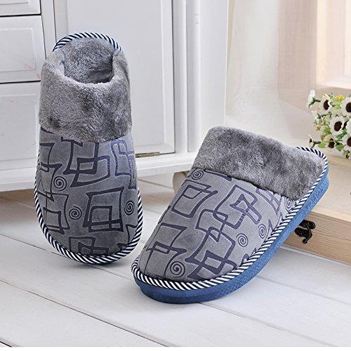LaxBaFemmes Hommes chauds dhiver Chaussons peluche antiglisse intérieur Cotton-Padded Chaussures Slipper Boîte grise