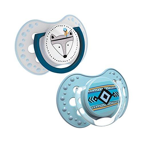Lovi 22/856boy Dynamischer Silikon-Schnuller, Indian Summer, 3-6 Monate, kiefergerecht, 2 Stück, BPA frei, 2 Schutzkappen, blau