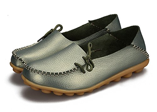 Auspicious beginning Ladies Comfy Work Leather Moccasins Loafers Flats Shoes vert clair