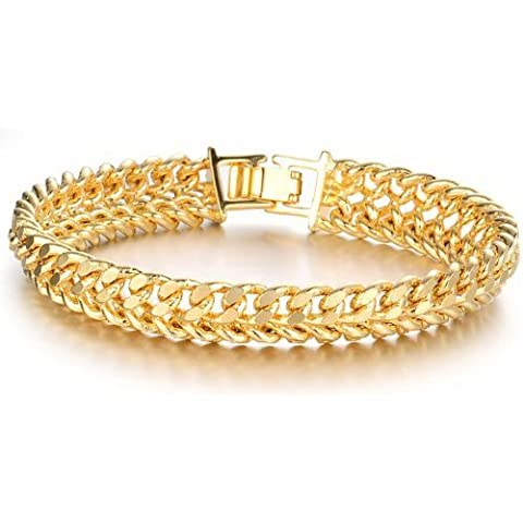 SOPO 18k Yellow Gold Double Link Chain Bracelet Men Women 11mm 7.5