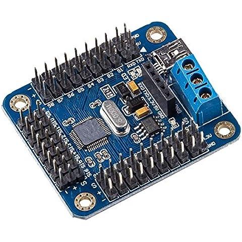 Mark8shop Mini USB, 24 canali Servo-Modulo Driver per controllo motore per Arduino, Robot - Modulo Di Controllo Del Motore