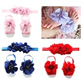 BabyMoon Baby Flower Headbands and Barefoot Sandals Set Hair Accessories Foot Bands for Baby Girls Newborns Infants