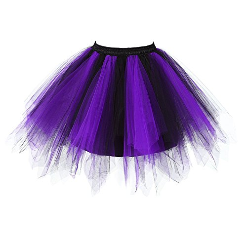 Honeystore Damen's Neuheiten Tutu Unterkleid Rock Ballet Petticoat Abschlussball Tanz Party Tutu Rock Abend Gelegenheit Zubehör Violett und Schwarz (Panty Foto)