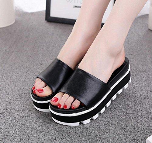 Donne in pelle sandali e ciabatte pantofole femminili parola focaccina pantofole fondo pesante sandali comodi donne in Europa e in America Black