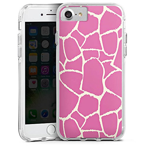 Apple iPhone 8 Bumper Hülle Bumper Case Glitzer Hülle Giraffe Pink Animal Print Bumper Case transparent