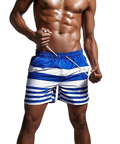 AIWENSI Herren Streifen Kurze Hose Badeshorts Surfshorts Badehose Beachshorts + Wasserdichte Handy Hülle Blau