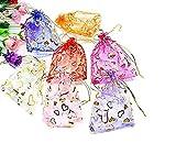 50PCS 12,7x 17,8cm organza Drawstring Bags Pouches Jewelry party wedding party festival di Natale sacchetti regalo sacchetti di caramelle Purple