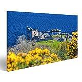 Bild Bilder auf Leinwand Ruinen von Urquhart Castle gegen
