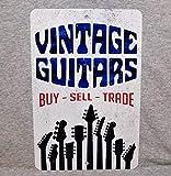 Plaque en métal Vintage Guitars Magasin Show collectionneur Guitariste électrique Guitare Acoustique Hache Vieux 12' x 18' Aluminium Homme Grotte décor