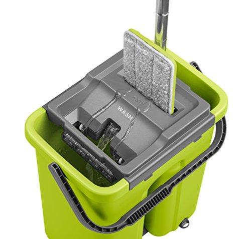 CleanUP Sistema de limpieza con fregona y cubo, fregona revolucionaria que ahorra trabajo, para todo tipo de suelos, ideal para hogares con niños y mascotas, ahorra tiempo y energía, almacenamiento compacto, incluye mopa de larga duración