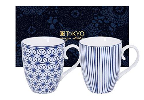 Tokyo Design Studio, 2 tasse, Motif Nippon Blue, 380ml