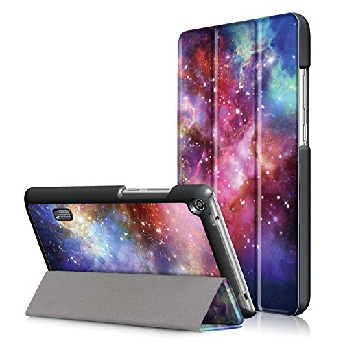 WindTeco Huawei Mediapad T3 7.0 Hülle - Ultra Dünn und Leicht PU Leder Schutzhülle mit Standfunktion für Huawei Mediapad T3 7,0 Zoll WiFi BG2-W09 Tablet 2017 Release, Galaxy