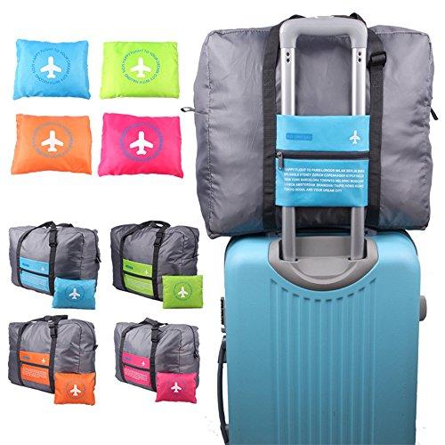 Ultra Lightweight 32L Flugbeutelgröße Faltbare Tasche Gepäcktasche Clothes Storage Carry-On Duffle Tasche mit Reißverschluss, Farbe: Blau (Lebensmittelgeschäft-tasche Große)