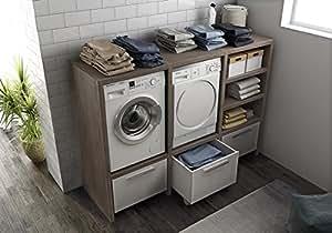 Mobile lavanderia porta lavatrice e porta asciugatrice e carrelli cesti bucato - Mobile lavatrice asciugatrice ...